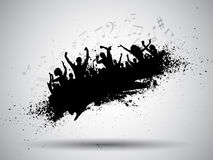 Grunge party background. Silhouette of a group of party people on a grunge background with music notes Stock Image