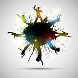 Grunge party crowd. Silhouettes of party people on a grunge background Stock Photography