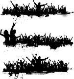 Grunge party crowds. Collection of three different party crowds on grunge Royalty Free Stock Image