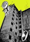 Grunge Party-Kasten in der Stereolithographie Stockbilder