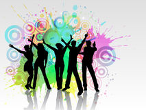 Grunge party people. Silhouettes of people dancing on a grunge background Stock Photo