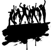 Grunge party people. Grunge style silhouette of a group of party people Stock Photo