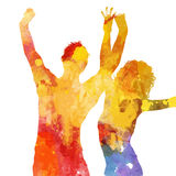 Grunge party people with watercolour design Stock Image