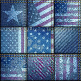 Grunge patchwork with USA flags Royalty Free Stock Images