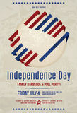 Grunge patriotic flyer design. Grunge modern vector 4th of July barbeque invitation flyer template Royalty Free Stock Photos