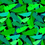 Grunge pattern with fern leafs. Vector seamless pattern with leafs inspired by tropical nature and plants like palm trees and ferns in multiple green colors and Stock Photo
