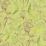 Grunge pattern with flowers. Vector seamless floral grunge pattern with flowers and leafs - orchid Stock Photography