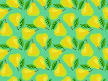 Grunge pattern with painted yellow pears and leafs Stock Photo