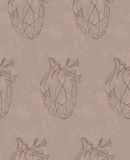 Grunge pattern with sketch hearts Royalty Free Stock Photography