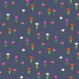 Grunge pattern with small hand drawn flowers. Stock Photos