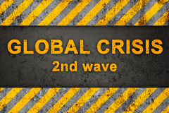 Grunge Pattern with Text (Global Crisis). Grunge Black and Orange Pattern with Warning Text (Global Crisis), Old Metal Textured Stock Photo