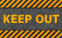 Grunge Pattern with Warning Text (Keep Out). Grunge Black and Orange Pattern with Warning Text (Keep Out), Old Metal Textured Stock Photography