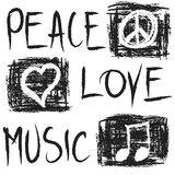 Grunge Peace, Love and Music Stock Photo