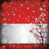 Grunge Peach Blossom Card and Label. A Red greeting card for spring time Royalty Free Stock Photo