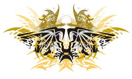 Grunge peaked eagle butterfly with gold winged dragons Royalty Free Stock Photography