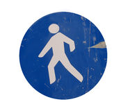 Grunge pedestrian crossing sign Royalty Free Stock Photos