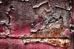 Grunge Peeled Paint on Old Rust Metal Background stock images
