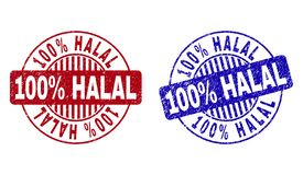 Grunge 100 Percents HALAL Textured Round Stamp Seals stock illustration
