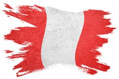 Grunge Peru flag. Peru flag with grunge texture. Brush stroke Flag royalty free stock photography