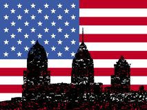 Grunge Philadelphia skyline with flag Royalty Free Stock Images