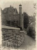 Grunge photo of Boldt's Castle. Unfinished castle which was belong to George Boldt (antique style Stock Image