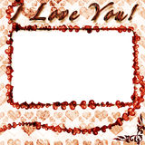 Grunge photo frame with hearts Stock Image