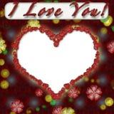 Grunge photo frame with hearts. For web or desktop stock illustration