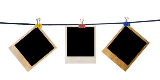 Grunge photo frame on a rope Royalty Free Stock Photography