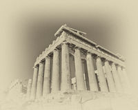 Grunge photo of Parthenon temple with old film looking filter Royalty Free Stock Photos