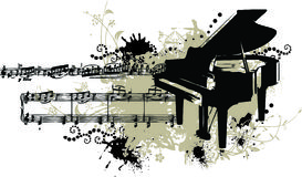 Grunge Piano with Stains and Note Staff Stock Photos