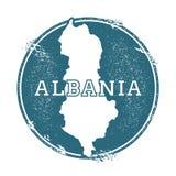Grunge pieczątka z imieniem i mapą Albania Zdjęcie Stock