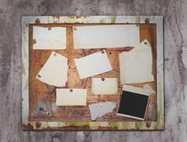 Grunge pin board. With a lot of copy space, a pola added as picture space Stock Photography