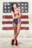 Grunge pin up woman in american fashion style Stock Photography