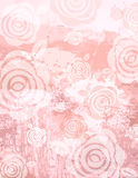 Grunge pink background with decorative roses Stock Images