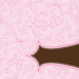 Grunge pink background with pattern of butter. Grunge wooden pink background with pattern of hand draw  butterflies Royalty Free Stock Photography