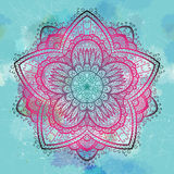 Grunge pink and blue ornamental flower Stock Photo