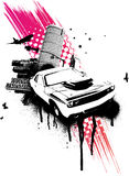 Grunge Pink Car City. Vector Illustration Royalty Free Stock Image