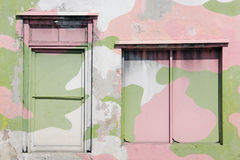 Grunge Pink and green Camouflage window background Royalty Free Stock Image