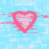 Grunge pink heart on  blue   background Royalty Free Stock Image