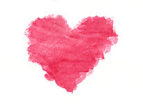 Grunge pink heart watercolor painting Royalty Free Stock Photography