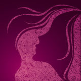 Grunge pink illustration of a girl. Vector grunge pink illustration of a girl with beautiful hair (from my big Vintage girl collection Royalty Free Stock Image