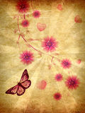 Grunge pink ornament with flowers. Beautiful pink ornament with butterflies and flowers on grunge paper Stock Photo