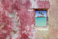 Grunge pink red wall window palm trees island Royalty Free Stock Images