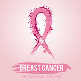 Grunge pink ribbon. Breast cancer awareness symbol. Vector illustration Stock Photos