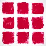 Grunge pink squares. Set with nine grunge ink hand-drawn pink squares Royalty Free Stock Image