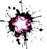Grunge pink star frame. With black and white splashes Royalty Free Stock Photography
