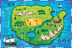 Grunge pirate's map Stock Photos