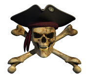 Grunge Pirate Skull. With sharp pointed teeth and an evil grin - 3D render Royalty Free Stock Image