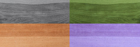 Grunge plank wood texture background. Collage of wooden surfaces. Four different colors Stock Images