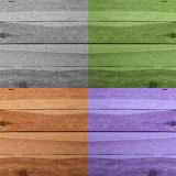 Grunge plank wood texture background. Collage of wooden surfaces. Four different colors Royalty Free Stock Photo